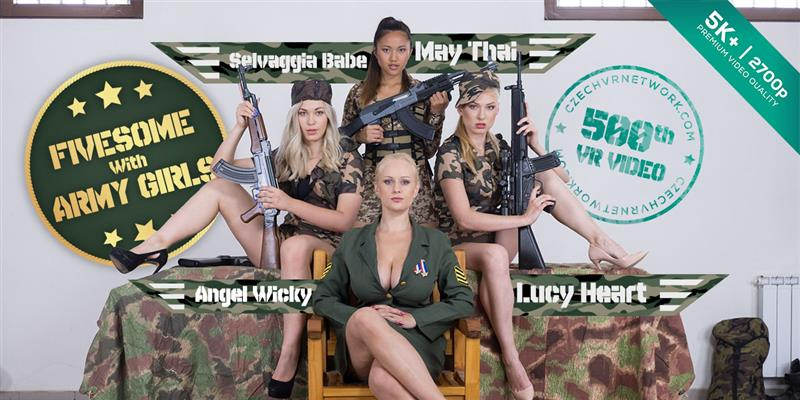 Czech VR 234 - Fivesome With Army Girls