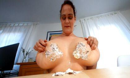 Cleo Smashes Chocolate Marshmallows with Her Big Boobs