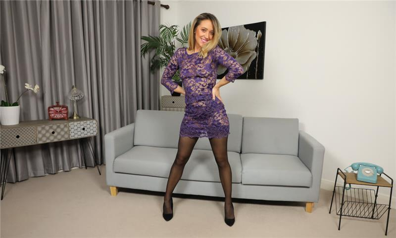 Samantha - Petite Samantha In and Out of Lingerie - Stockings Nylons Striptease Blonde Solo Model