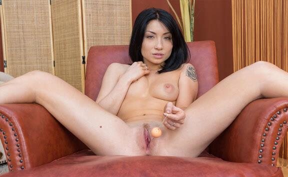Asian hottie tries out her new sex toys - Petite Babe and Her Dildo